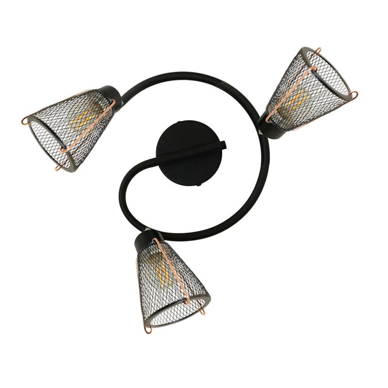 FORLINE - Plafonnier spots grillage noir et détail cuivré