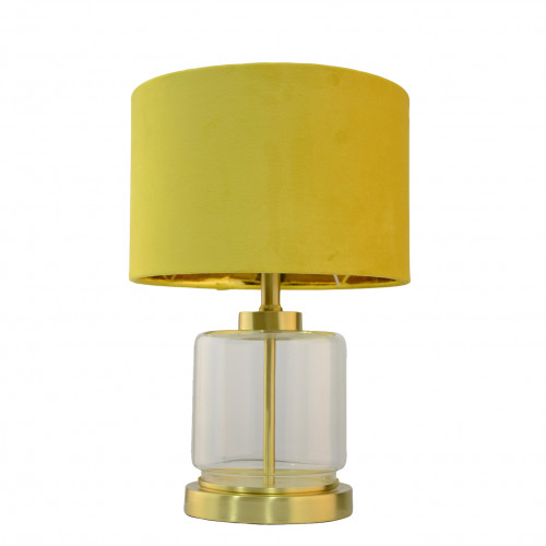 Lampe métal et verre avec abat jour en velours - VELOURS