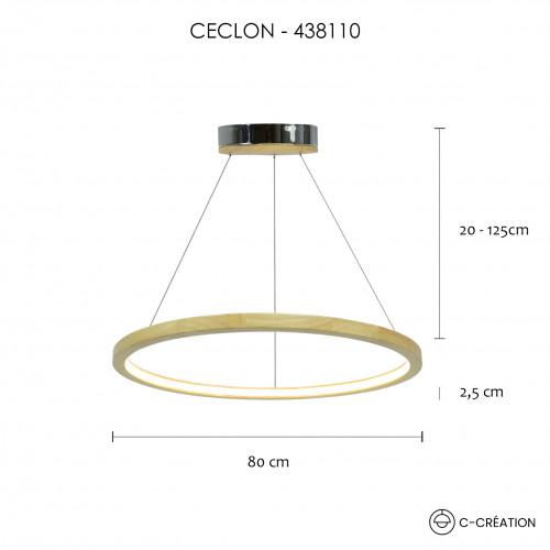 SUSPENSION CIRCULAIRE BOIS A LUMIERE LED GRANDE TAILLE - CECLON