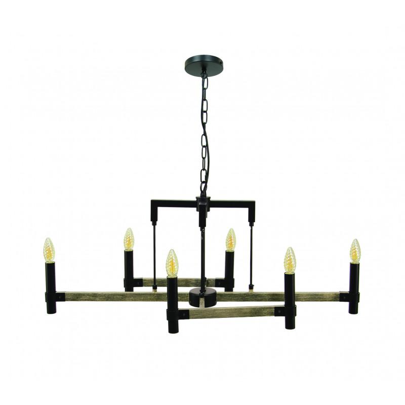 WIFON - Lustre métal effet bois façon chandelier moderne