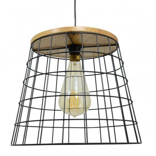 Grande suspension Simuto en bois naturel et métal peint