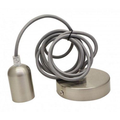Cordon douille e27 en coton et métal nickel brossé - CORDEMO