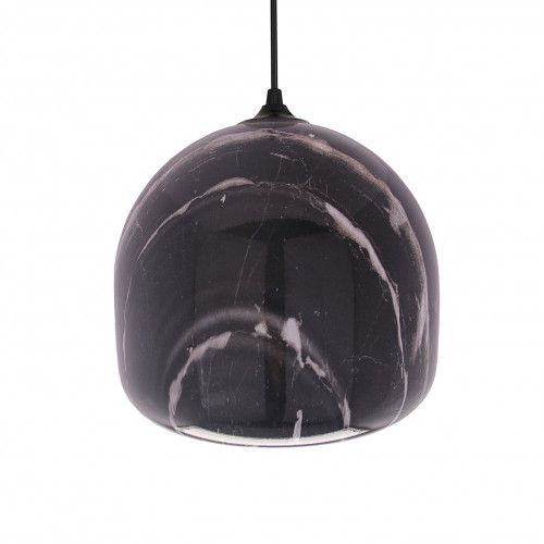 Suspension boule Ning en verre peint imitation marbre