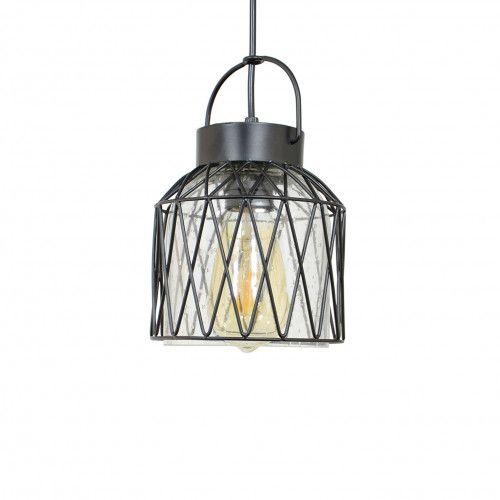 Petite suspension en métal peint et verre transparent