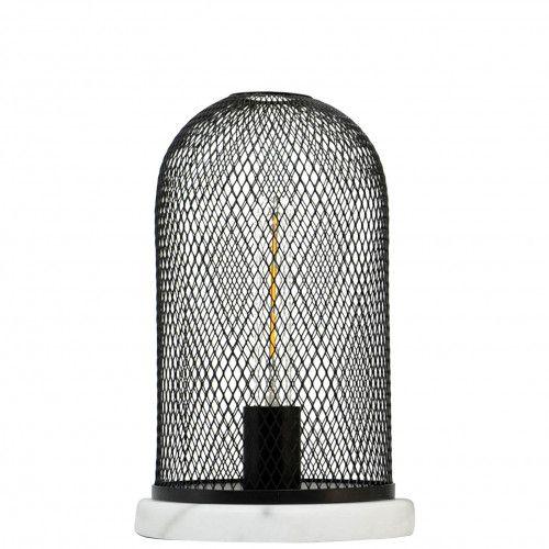 Lampe Lodi en métal noir et marbre blanc