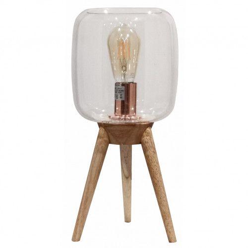 Lampe 3 pieds Filtone-l en bois naturel et verre transparent