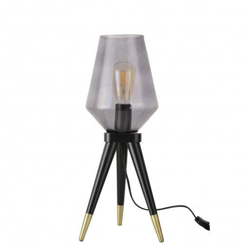 Lampe 3 pieds Triblue en bois et verre fumé