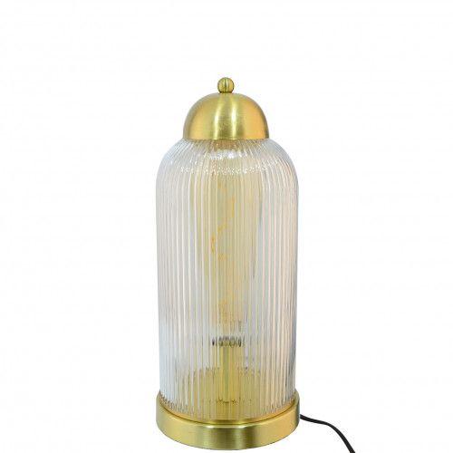 Lampe rétro/chic Faline en métal doré et verre transparent