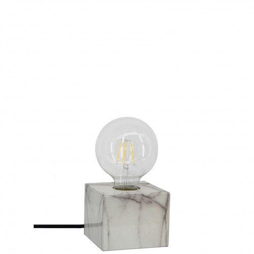 Pied de lampe carré en métal effet marbré blanc