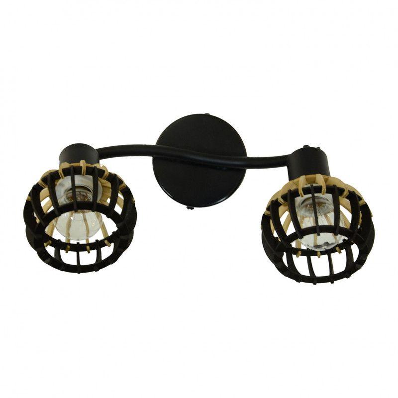 Applique Coblence en bois noir et naturel - 2 lumières