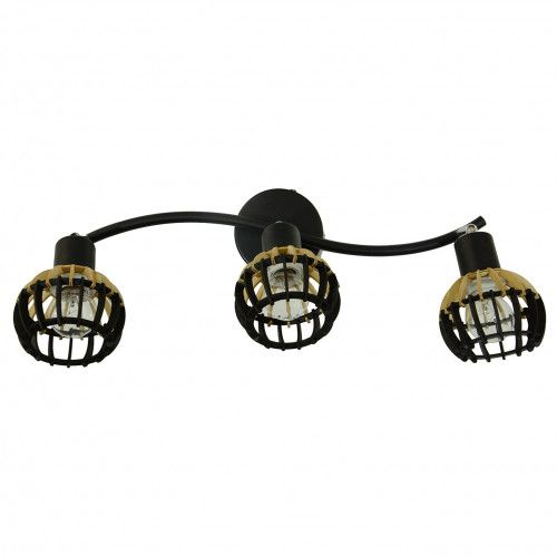 Applique Coblence en bois noir et naturel - 3 lumières