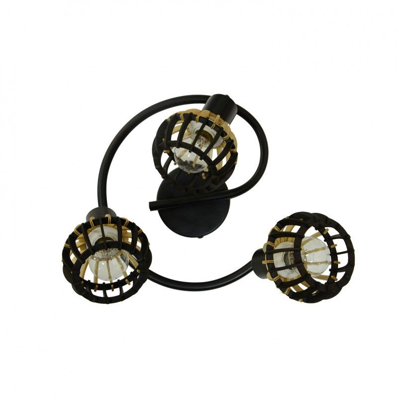 Plafonnier Coblence en bois noir et naturel - 3 lumières