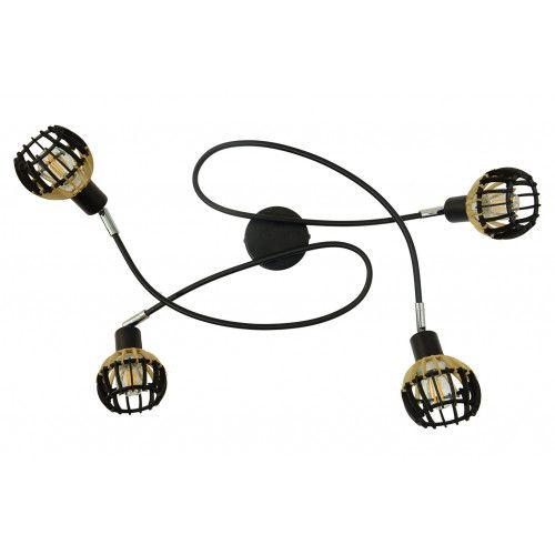 Plafonnier Coblence en bois noir et naturel - 4 lumières
